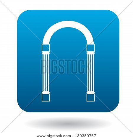 Iron arch icon in simple style in blue square. Construction and interiors symbol