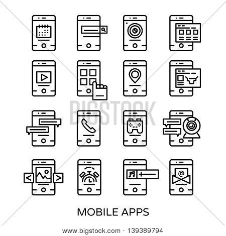 Isolated mobile application in linear style icon set sixteen smartphones on white background vector illustration