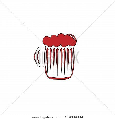 Glass of beer with foam. Red flat simple modern illustration icon with stroke. Collection concept vector pictogram for infographic project and logo