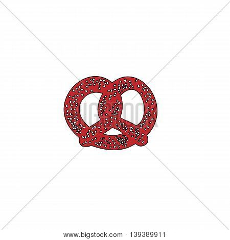 Pretzel. Red flat simple modern illustration icon with stroke. Collection concept vector pictogram for infographic project and logo