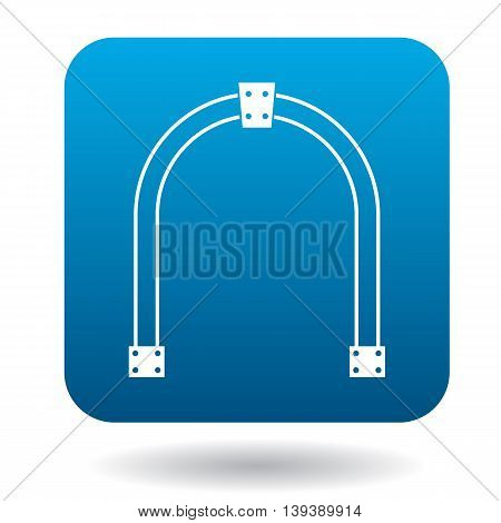 Steel arch icon in simple style in blue square. Construction and interiors symbol