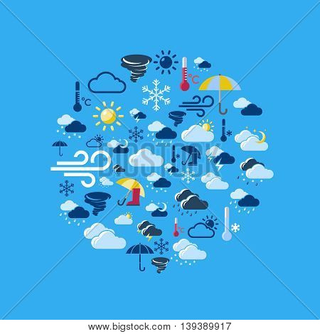 Weather forecast round composition with isolated colored icon set composed in circle shape vector illustration