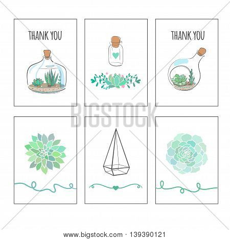 cute vector cards with cactuses and succulents, vector thank you cards, vector printable tags for gifts and presents, present tags isolated on white