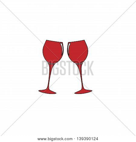 Two glasses of wine or champagne. Red flat simple modern illustration icon with stroke. Collection concept vector pictogram for infographic project and logo