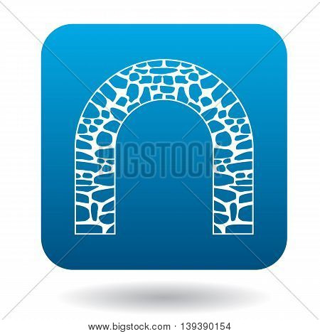 Stone arch icon in simple style in blue square. Construction and interiors symbol