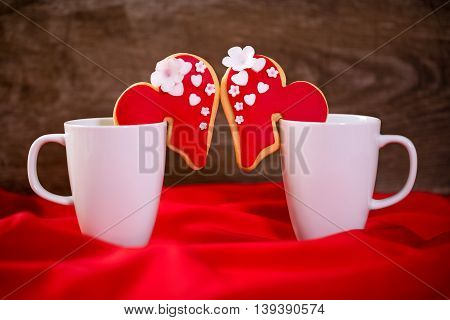 Cups With Heart Cookies For Valentines Day