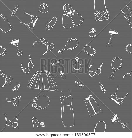 Pattern on the theme of fashion. Background for use in design, packing, textile, fabric