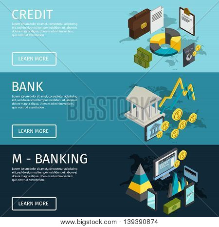 Three horizontal atm isometric banner set with descriptions of credit m banking and bank vector illustration