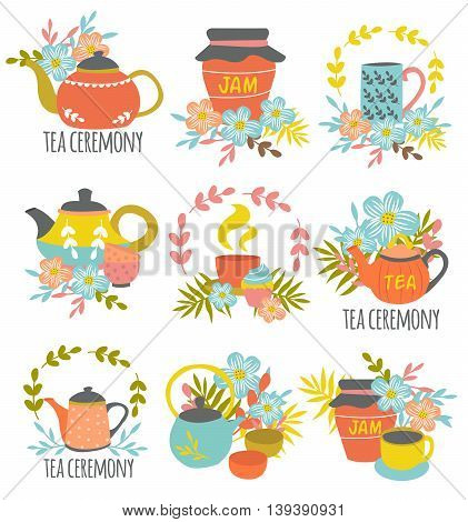 Tea ceremony hand drawn emblems with colorful drinking utensils flower compositions jar of jam isolated vector illustration