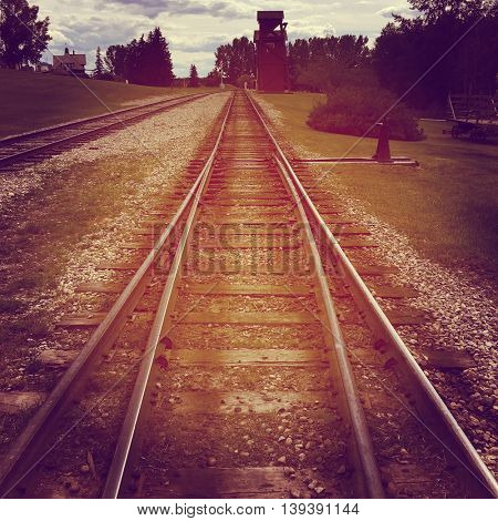 Railway tracks in Alberta