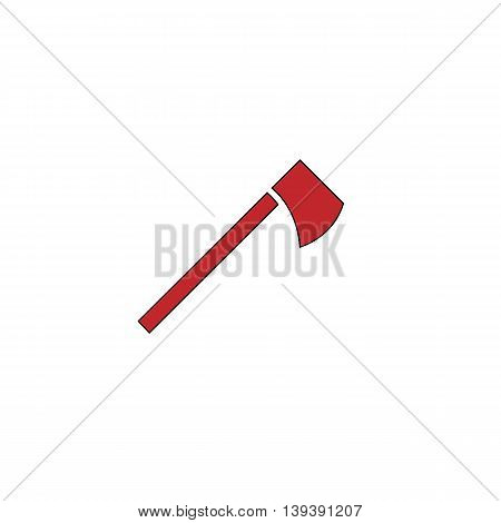 Tomahawk. Red flat simple modern illustration icon with stroke. Collection concept vector pictogram for infographic project and logo