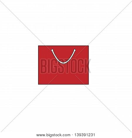 Simple shopping bag. Red flat simple modern illustration icon with stroke. Collection concept vector pictogram for infographic project and logo