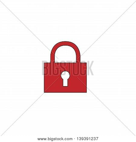 Simple lock pad. Red flat simple modern illustration icon with stroke. Collection concept vector pictogram for infographic project and logo