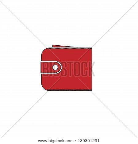Simple wallet. Red flat simple modern illustration icon with stroke. Collection concept vector pictogram for infographic project and logo