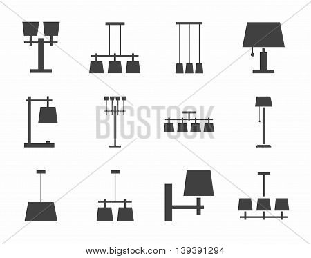 Lamps ceiling, table, outdoor, single-color icons. Vector image of different types of lamps for home and office. Dark gray icons on a white background.
