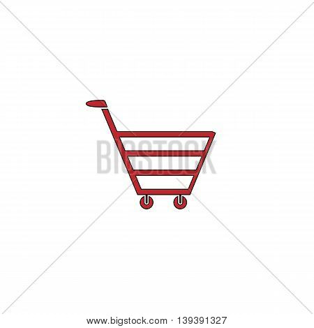 Trolley market. Red flat simple modern illustration icon with stroke. Collection concept vector pictogram for infographic project and logo