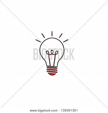 Light lamp sign. Red flat simple modern illustration icon with stroke. Collection concept vector pictogram for infographic project and logo