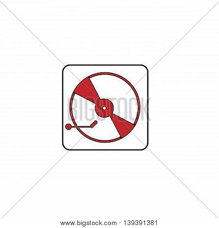 Vinyl record player. Red flat simple modern illustration icon with stroke. Collection concept vector pictogram for infographic project and logo