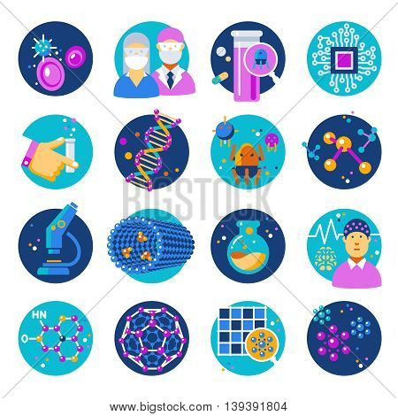 Nanotechnology flat icons set with materials atoms chemistry robots dna electronics medicine microscope isolated vector illustration