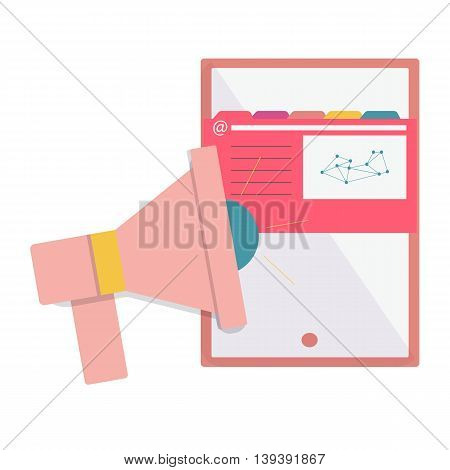 Pink speaker next to the analytical sheet, Web analytics or promotion vector flat icons, element infographics,