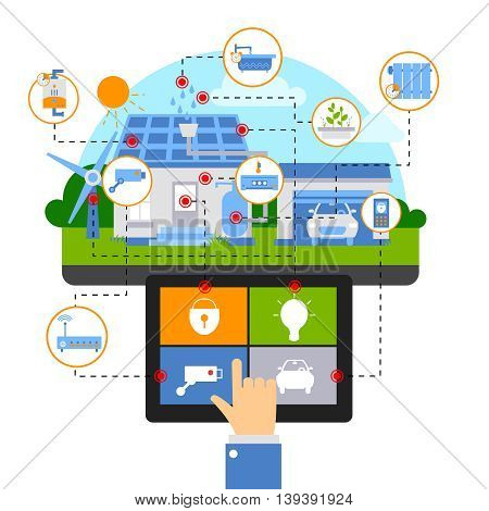Smart house composition with human hand with a tablet manages electronic devices at home vector illustration
