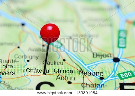 Chateau-Chinon pinned on a map of France