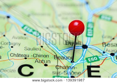 Beaune pinned on a map of France