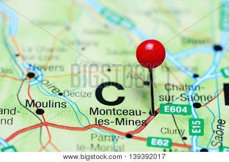 Montceau-les-Mines pinned on a map of France