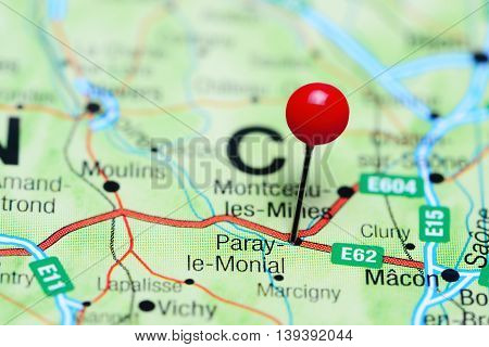 Paray-le-Monial pinned on a map of France