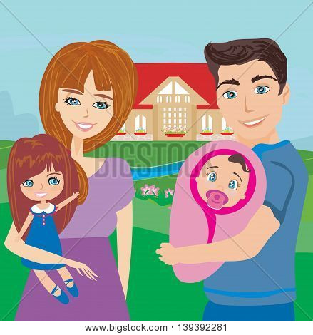 Happy family in nature in the garden , vector illustration