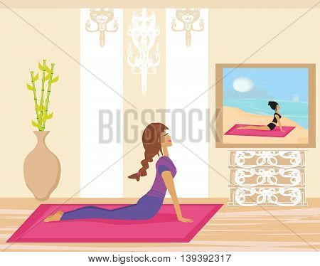 Young woman practicing yoga indoors , vector illustration
