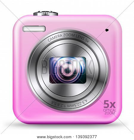 Vector detailed easy bright pink colored point and shoot camera icon isolated on white background