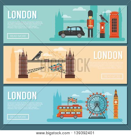 Three colored horizontal london banner set with attractions of the city and buildings and traditions vector illustration