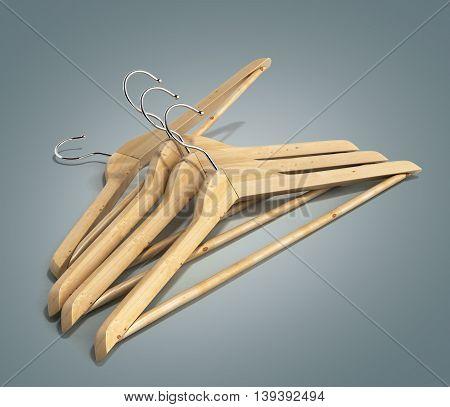 Wooden Coat Hangers 3D Render On Gradient