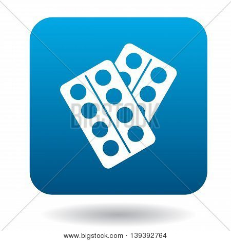 Pills pack blister icon in simple style isolated on white background