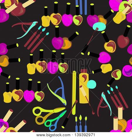 Seamless Pattern Of Care Tools For Hands And Nails Female On Black. Vector Illustration