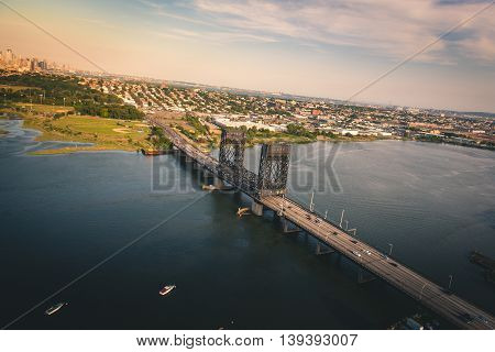 Aerial view of a bridge in New Jersey