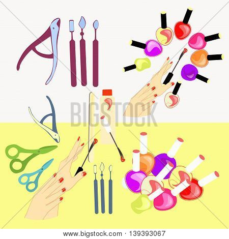 Set Of Cosmetics For Hands And Nails Of Girls, Women. Vector Illustration