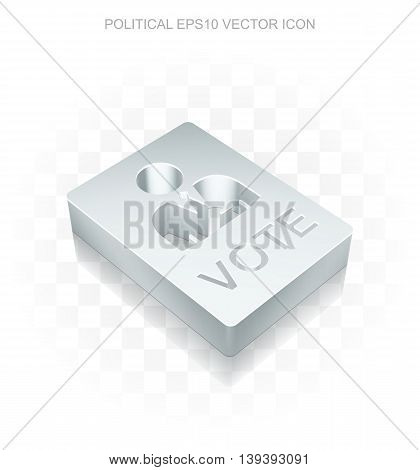 Politics icon: Flat metallic 3d Ballot, transparent shadow on light background, EPS 10 vector illustration.
