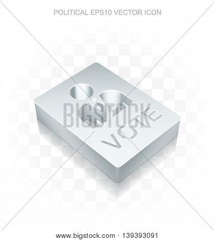 Politics icon: Flat metallic 3d Ballot, transparent shadow on light background, EPS 10 vector illustration.