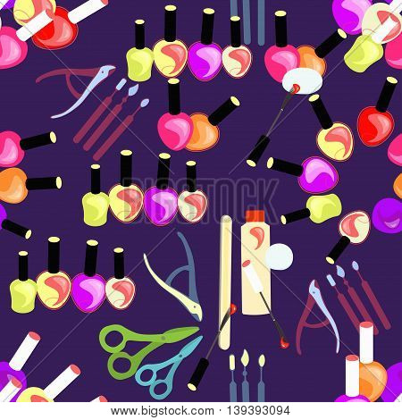 Tools Seamless Pattern Of Care For Hands And Nails Of Women In Purple. Vector Illustration