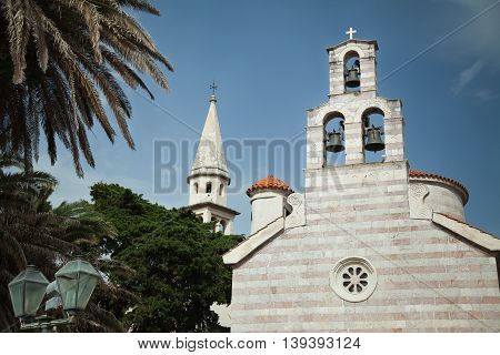 Old church in Budva, Montenegro. Cathedral near to Citadel, historical building.
