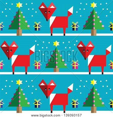 Seamless pattern with geometrical  fox , snow , Christmas trees with  lights and babbles Christmas gifts in two shades on light  blue background