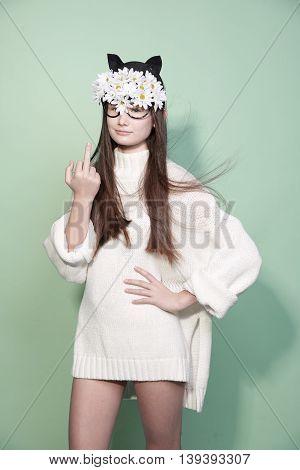 Saint valentine day woman flower mask fashion beauty portrait