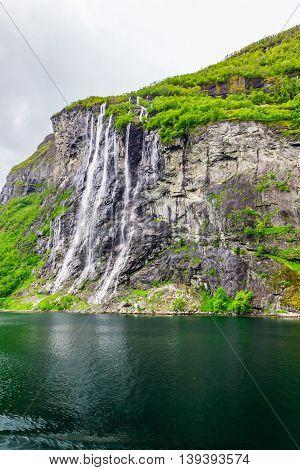 Waterfalls Seven Sisters in Geirangerfjord in Norway