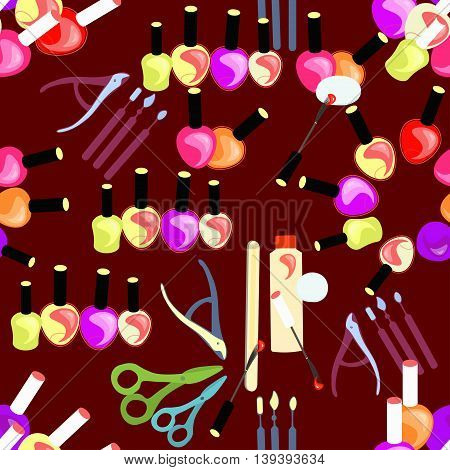 Tools Seamless Pattern Of Care For Hands And Nails Women On A Dark Maroon. Vector Illustration