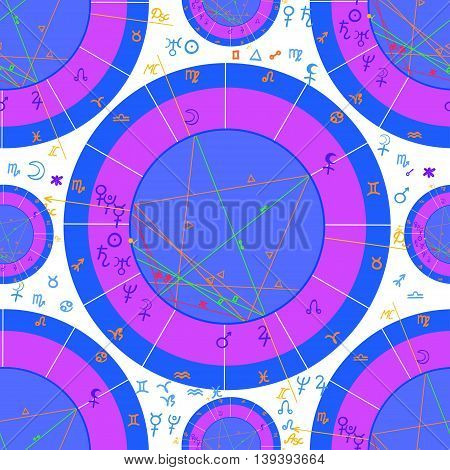 Seamless Pattern Blue Of Astrological Natal Chart. Vector Illustration