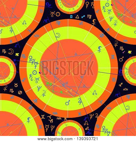 Seamless Pattern Of Yellow Of Natal Of Astrological Charts. Vector Illustration
