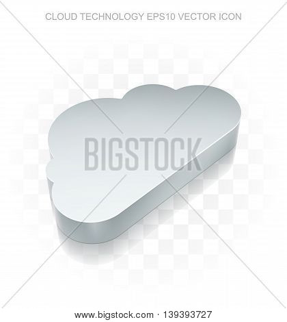 Cloud networking icon: Flat metallic 3d Cloud, transparent shadow on light background, EPS 10 vector illustration.