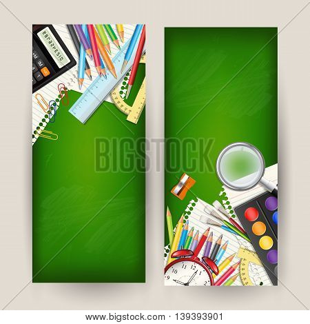 Set of two Back to school vertical banners. Templates with supplies tools on green classroom chalkboard. Place for your text. Layered realistic vector illustration.